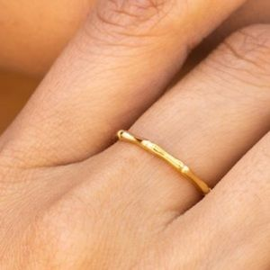 Bamboo ring - Gold plated - Thin stacking ring